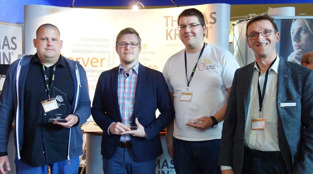 Die Gewinner des Thomas-Krenn-Awards 2017 (v.l.): Home Assistant, Zammad und Freifunk Chemnitz (in Vertretung für Freifunk Frankfurt)