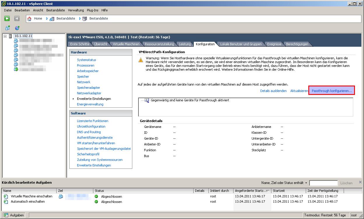VMware VMDirectPath zum Durchreichen von PCI Karten – Thomas