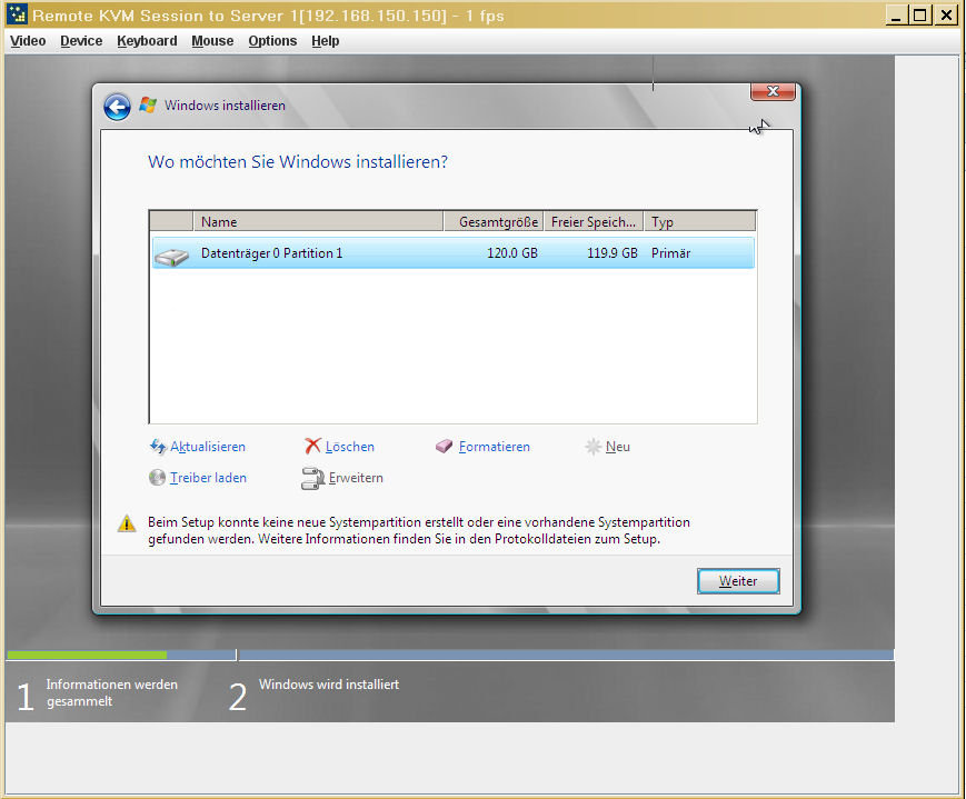 Es konnte keine neue partition erstellt oder eine vorhandene partition gefunden werden