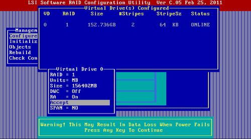 Tworzenie macierzy RAID na kontrolerze on-board LSI – Thomas