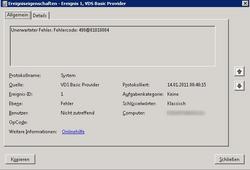 VDS Basic Provider Error Message 490@01010004 in Windows - Thomas