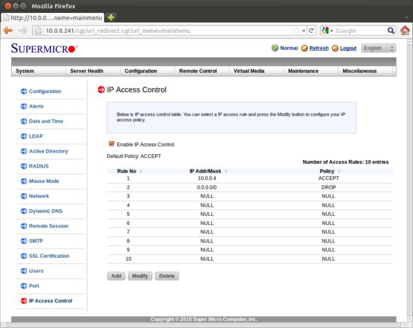 Korzystanie ze zintegrowanego firewalla w IPMI na płytach