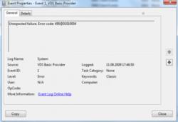 VDS Basic Provider, kod błędu 490@01010004 w systemie Windows