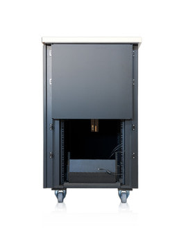 Sound insulated server cabinet 24U - Rear view partly open